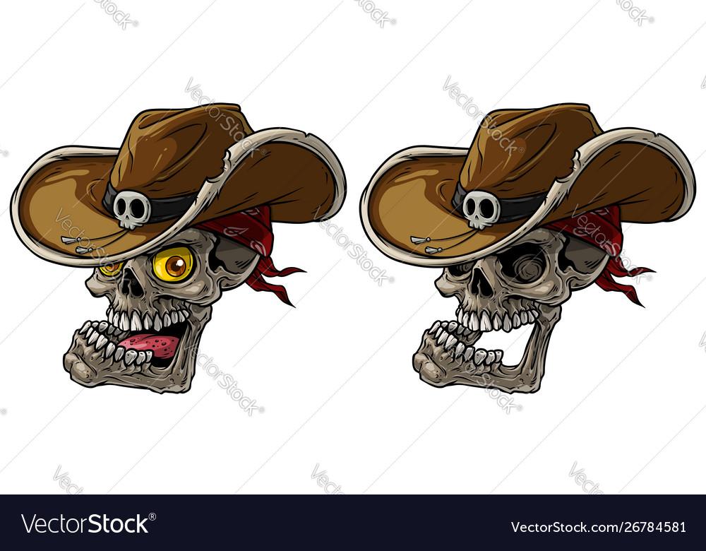 Cartoon cowboy skulls with hat and bandana