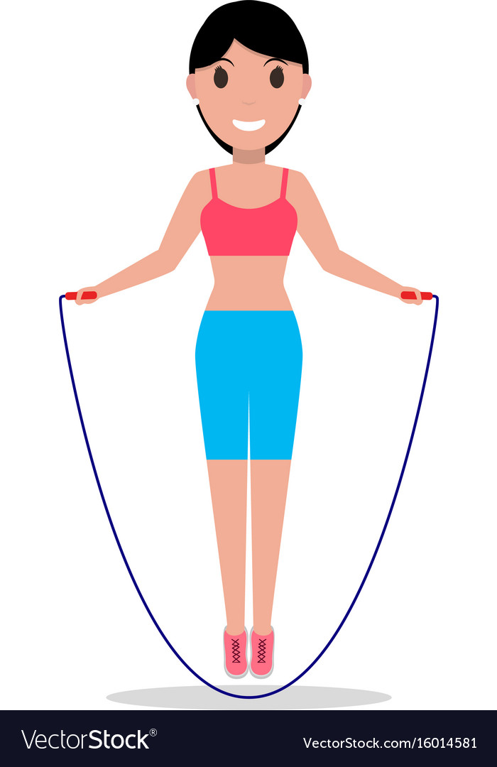 Cartoon Girl Jumping On A Skipping Rope Royalty Free Vector