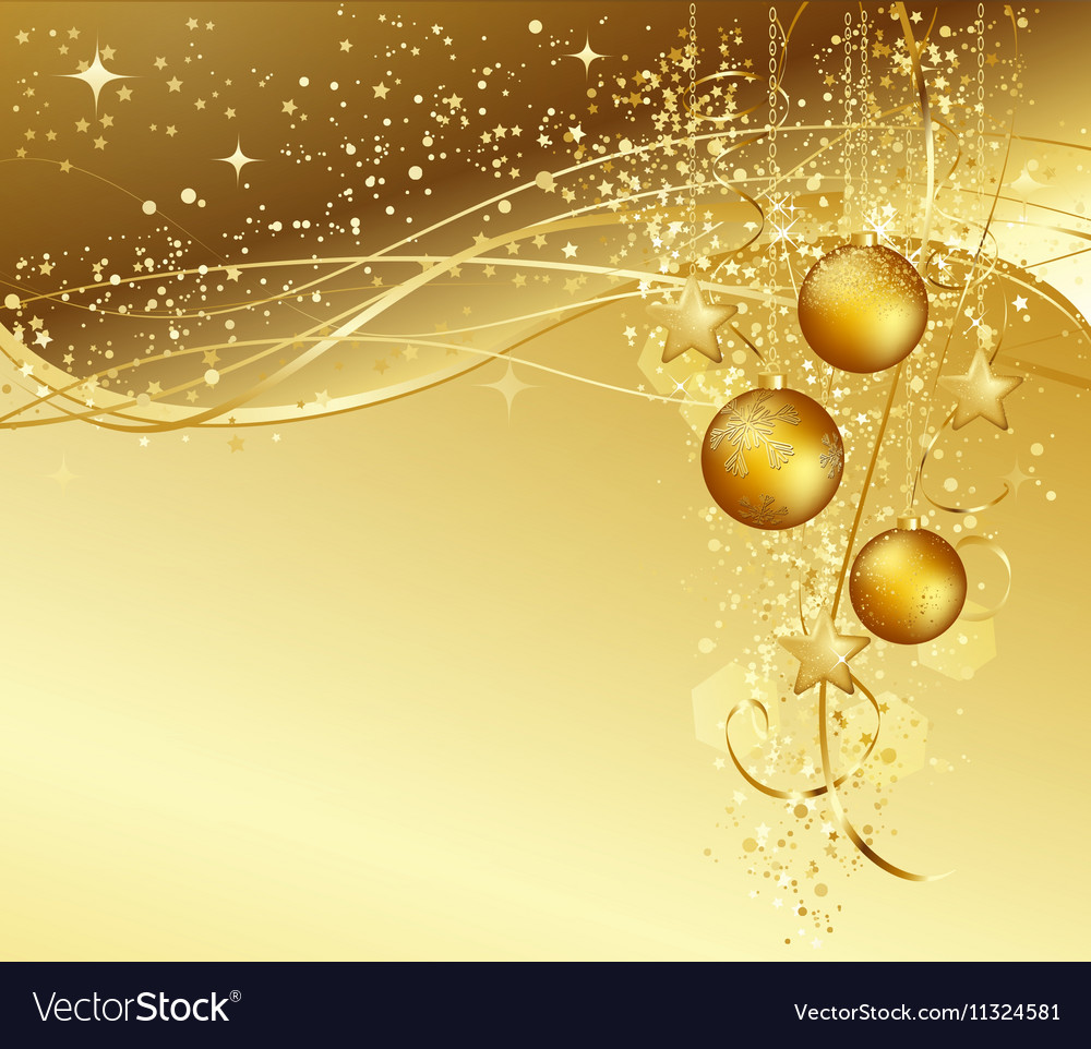 Christmas background with gold baubles