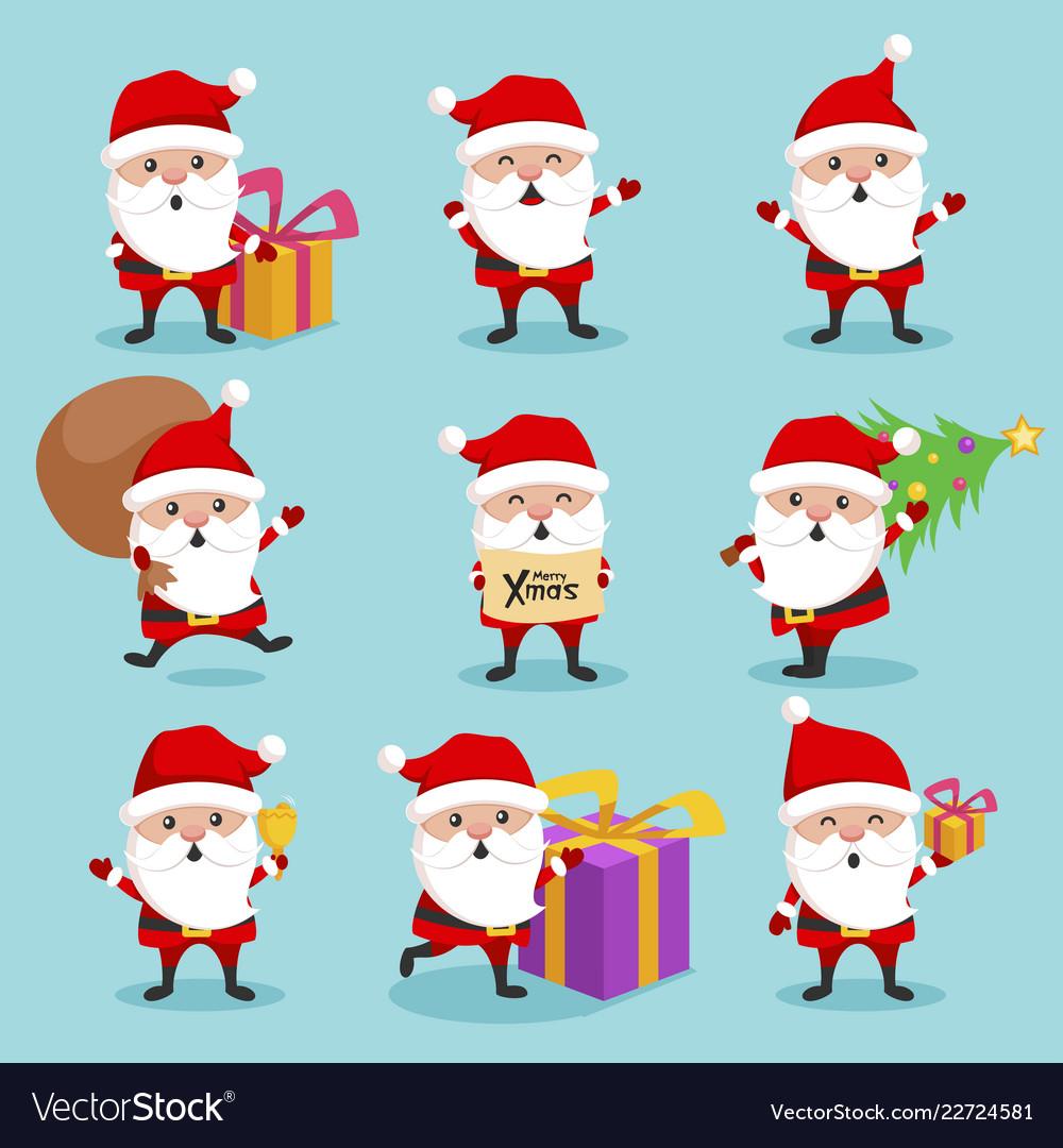 Christmas santa claus cute character holiday set