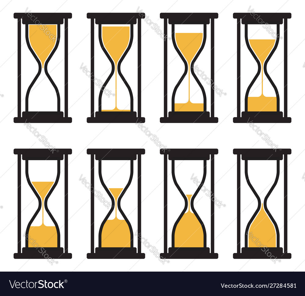 Collection hourglass clock symbols