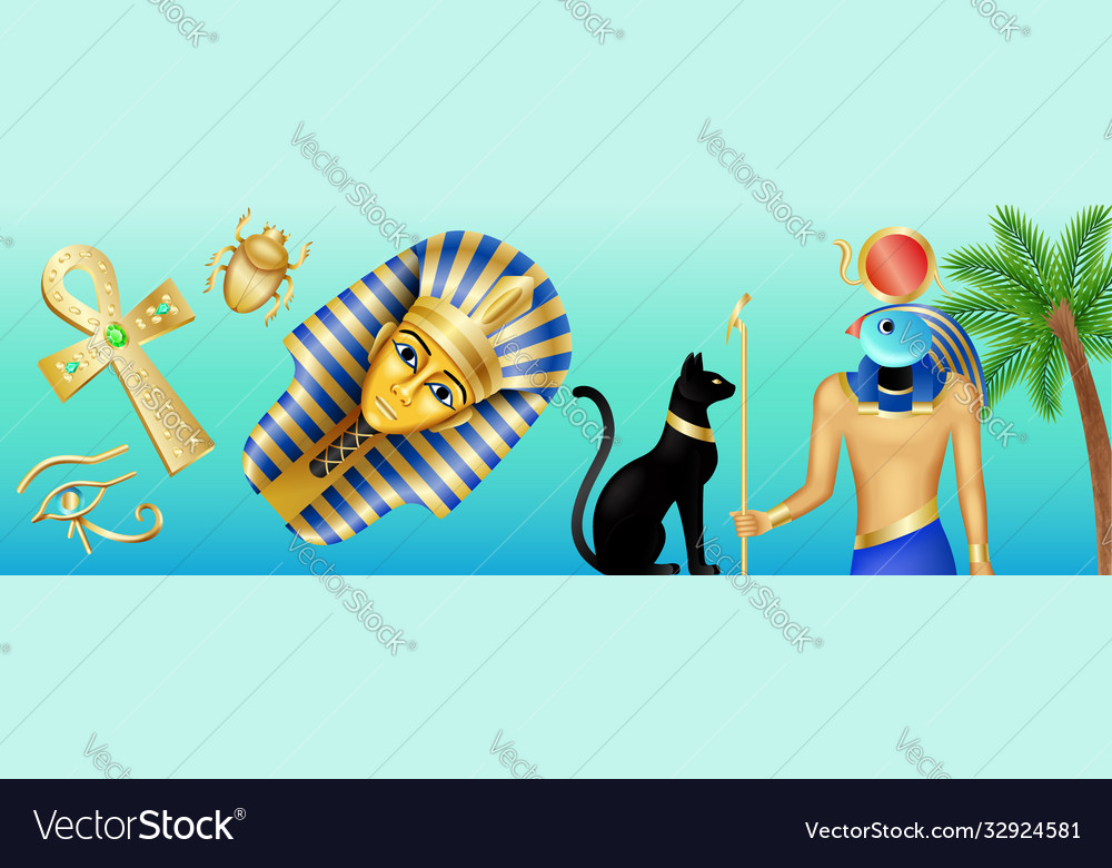 Egypt symbols banner cartoon poster with pharaoh