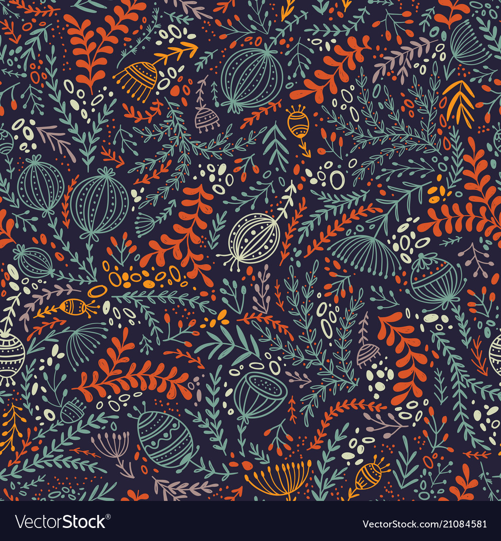 Ethnic style floral colorful seamless pattern