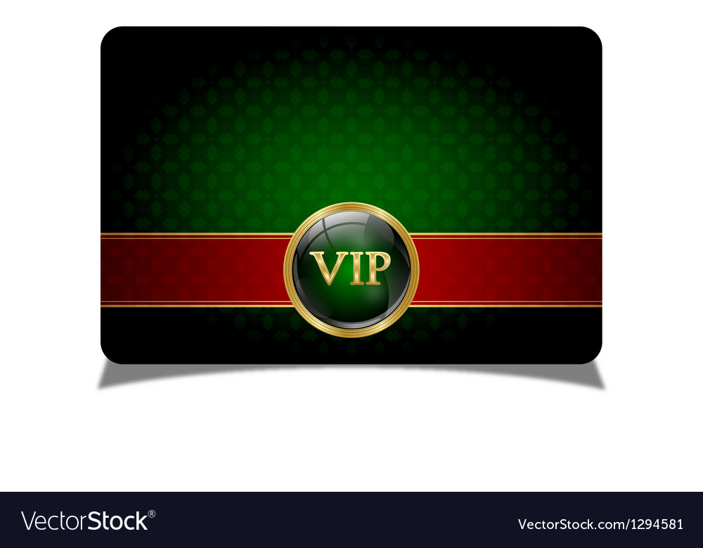 Green vip card vector image