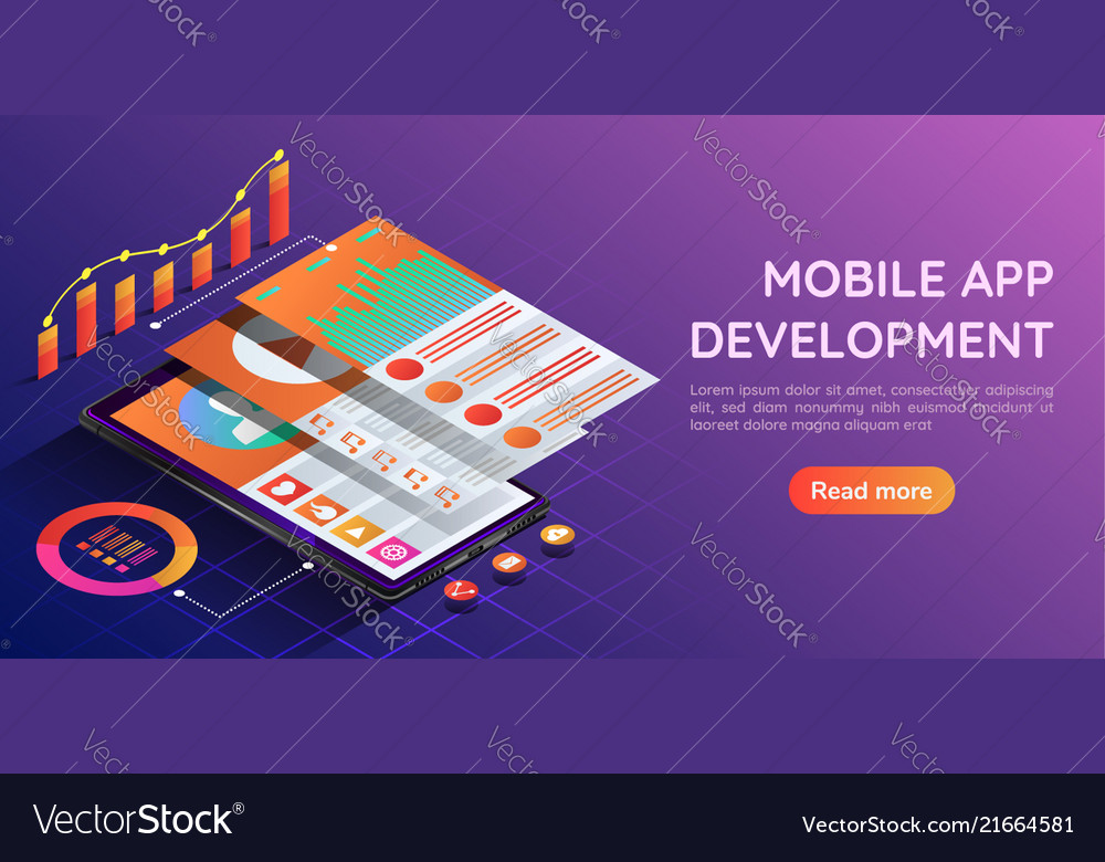 Isometric smartphone with mobile application user