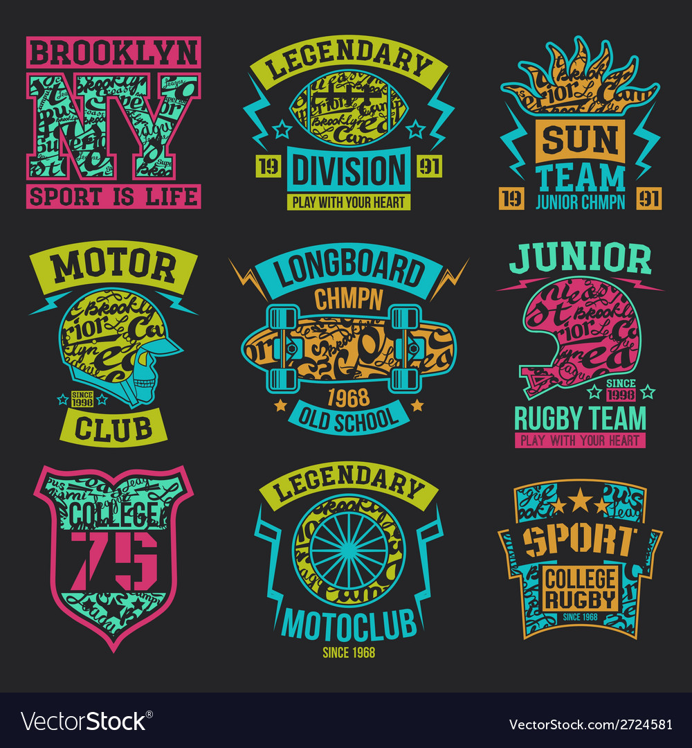 Sport Emblems Graphic Design For T Shirt Vector Image On Vectorstock