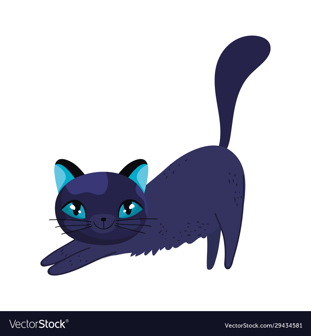 Stretching black cat cartoon feline character pets