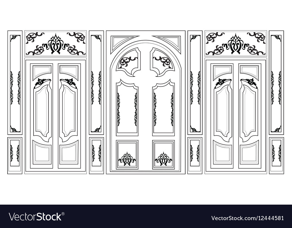 Wainscoting Decorative Damask frames vector image