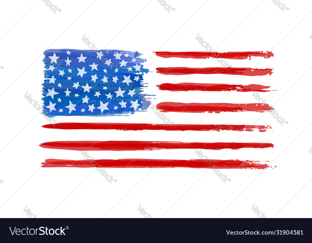 Watercolor american flag isolated on white