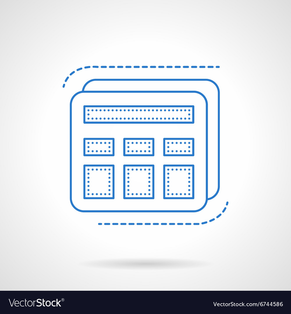 Blue flat line calculator icon vector image