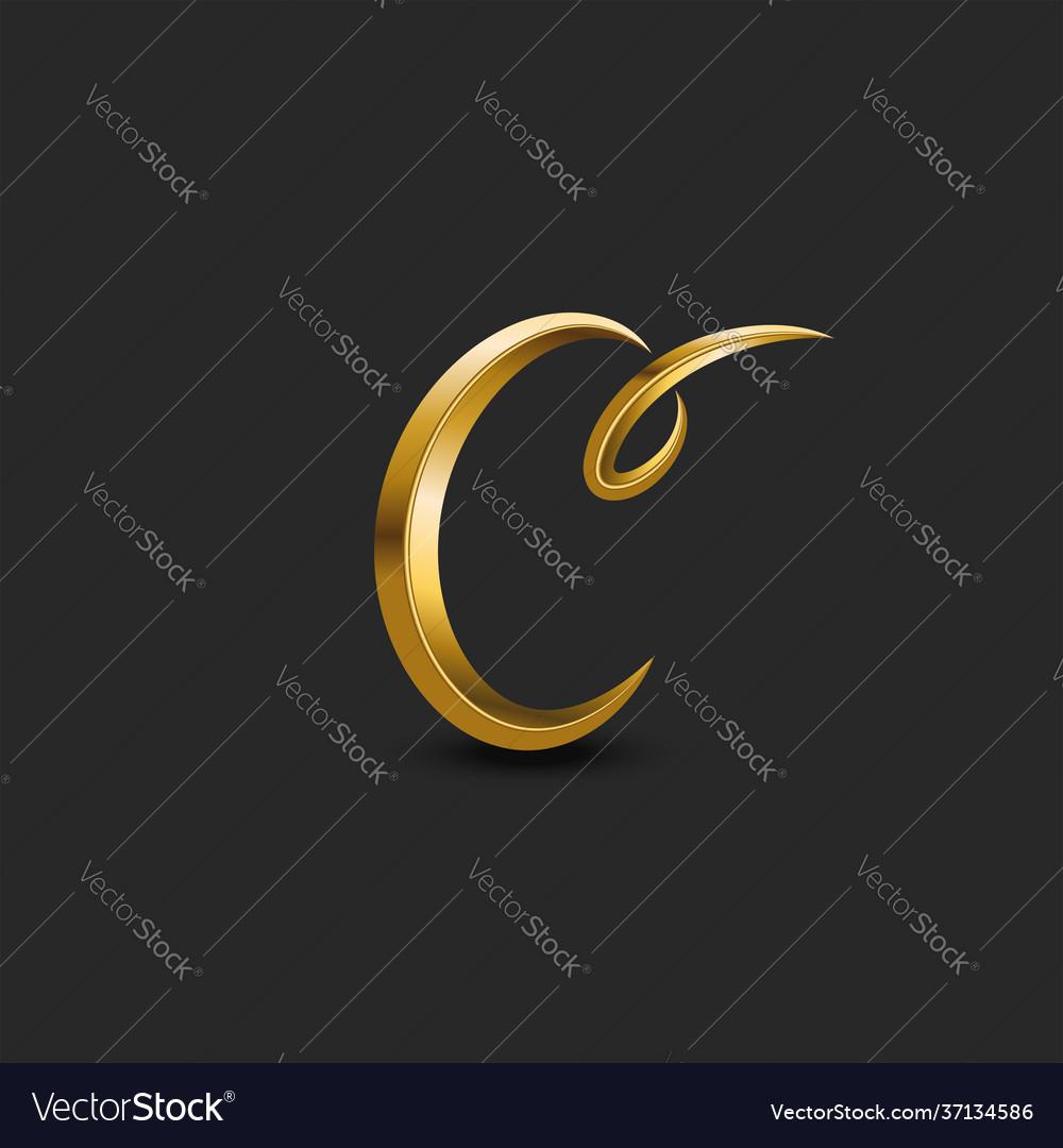 Calligraphic golden letter c curl monogram logo