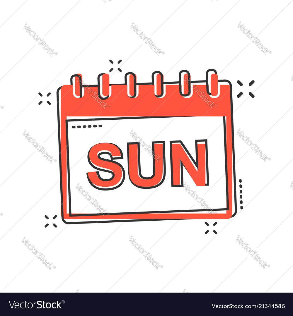 Cartoon sunday calendar page icon in comic style