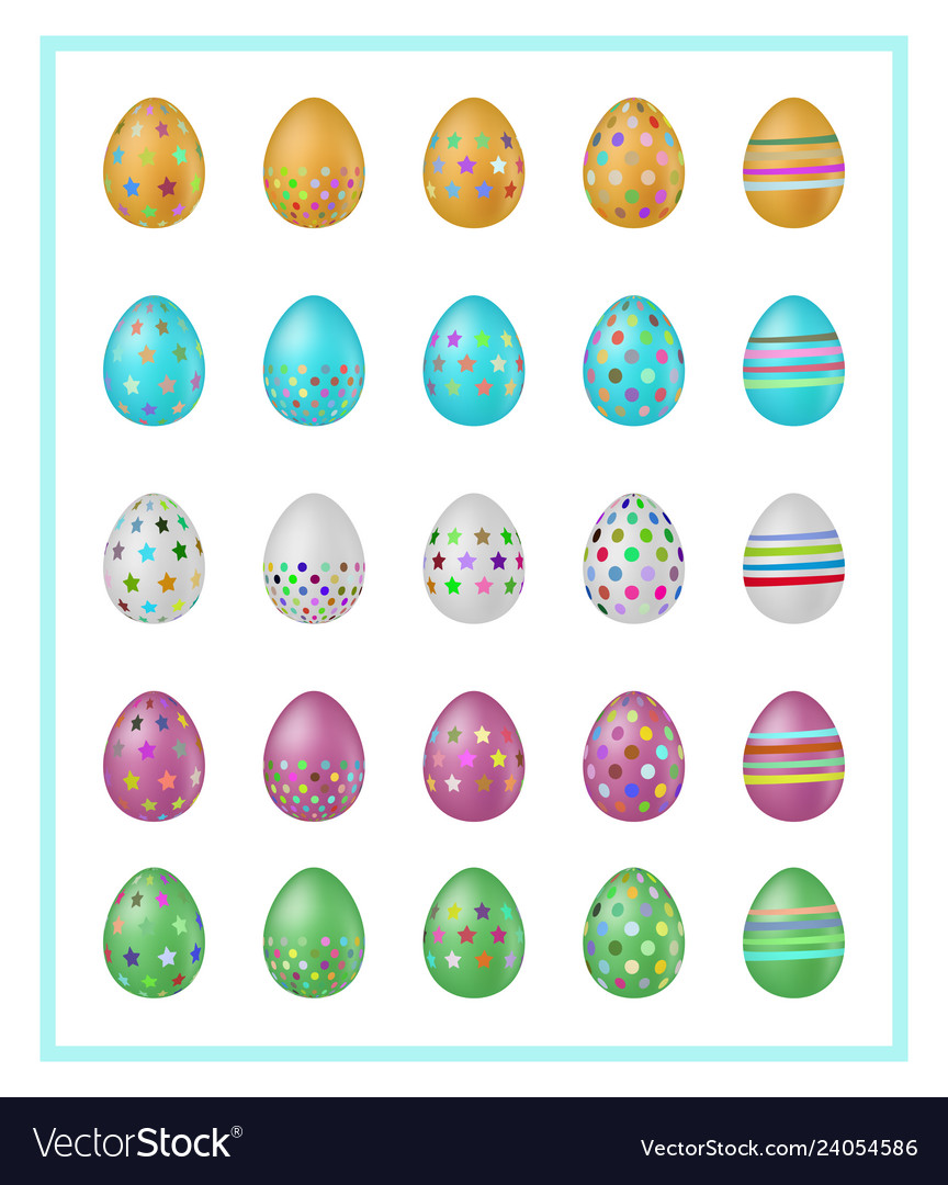 Colorful easter eggs icons