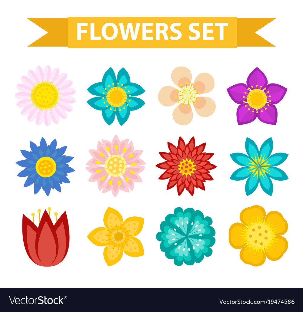 Flowers and leaves icon set flat style floral