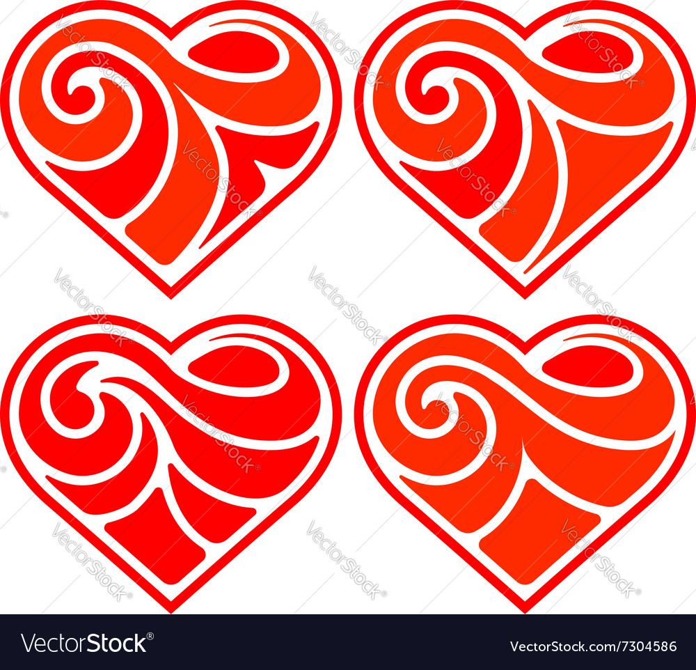 Four flat heart vector image
