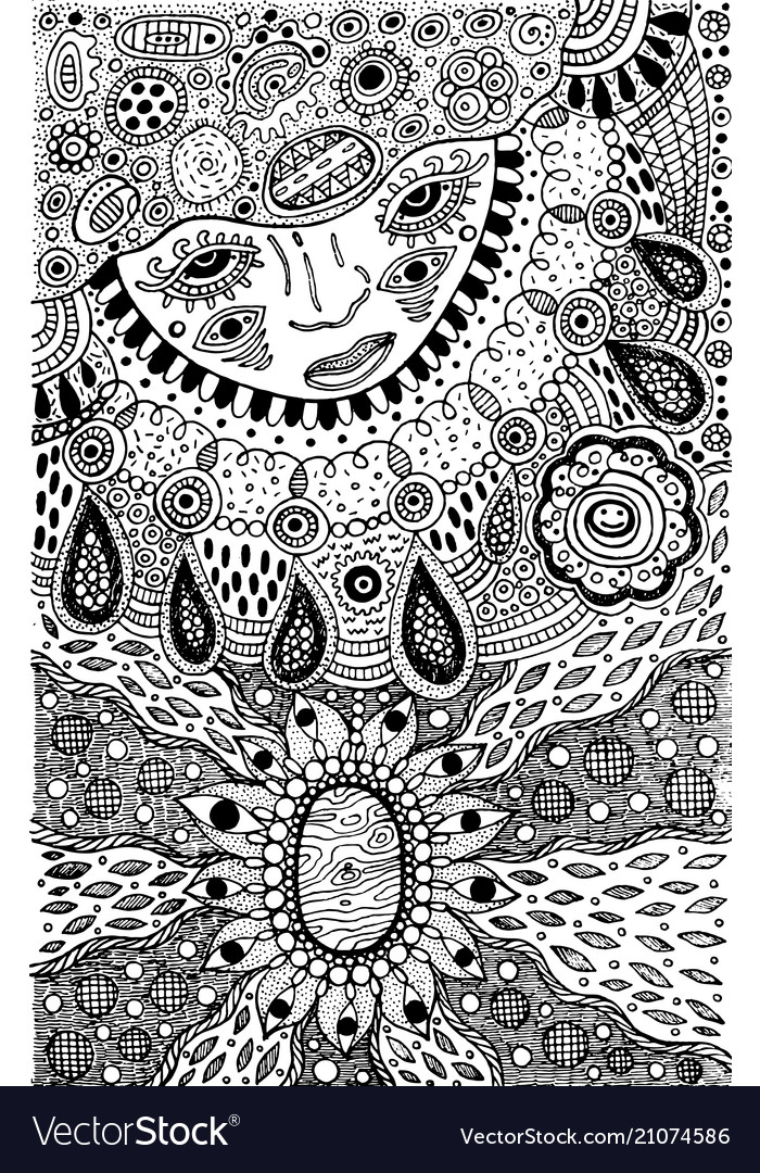 Graphic coloring page with shamanic face and