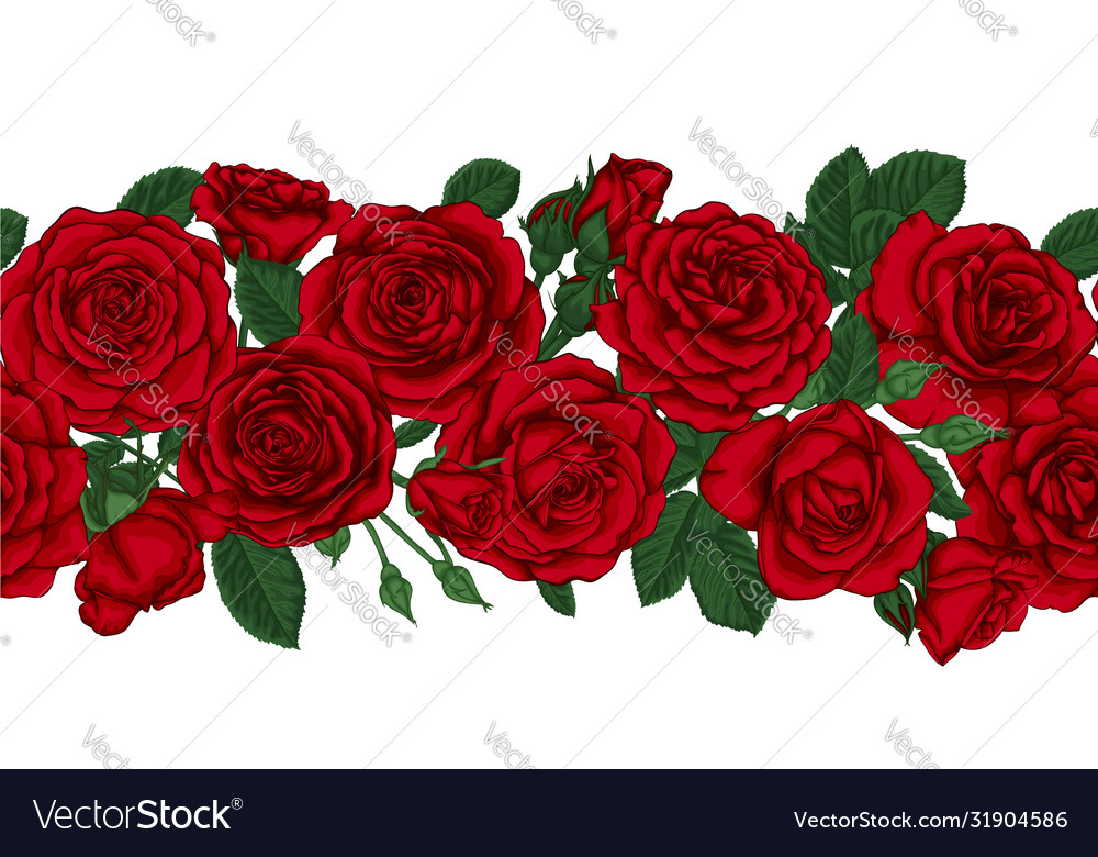 Horizontal seamless background with red roses