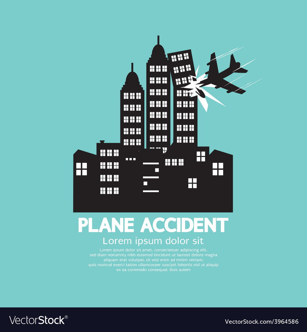 Plane Accident With Skyscrapers Black Graphic