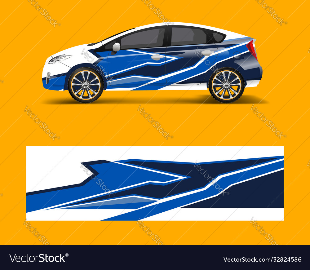 Racing car wrap abstract strip shapes for company