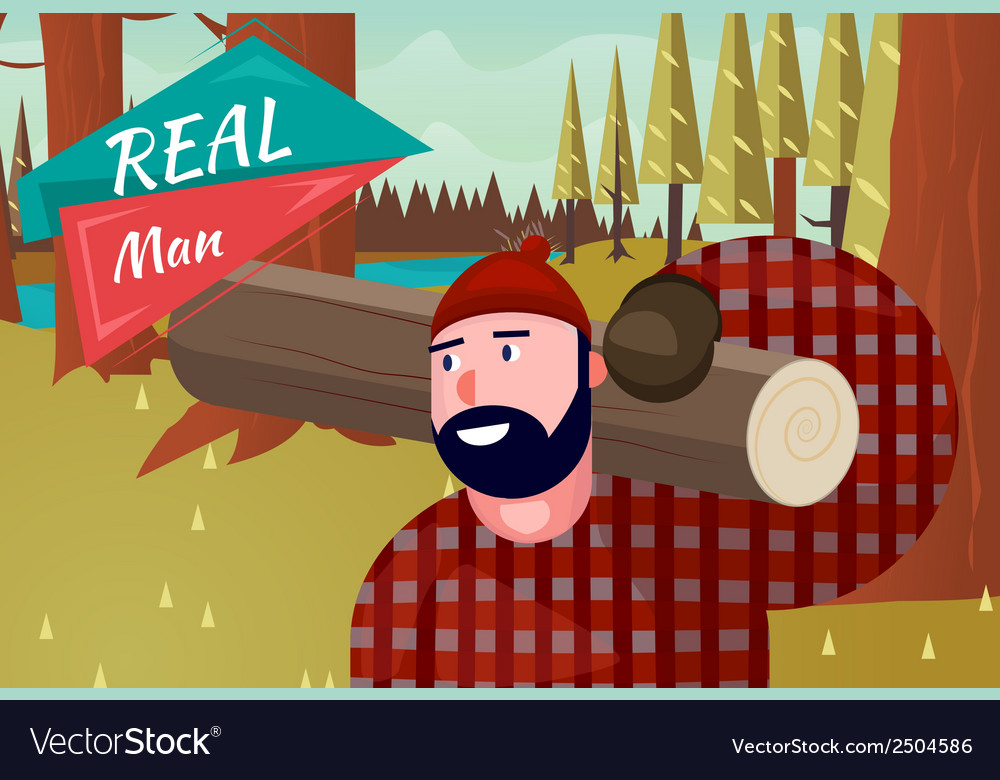 Real Man Lifestyle Natural Life Cartoon Retro Wood
