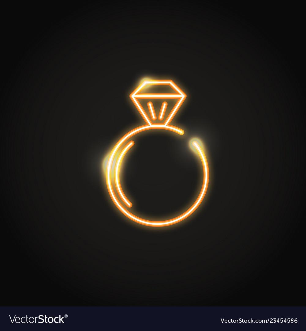 Ring with diamond glowing orange neon sign