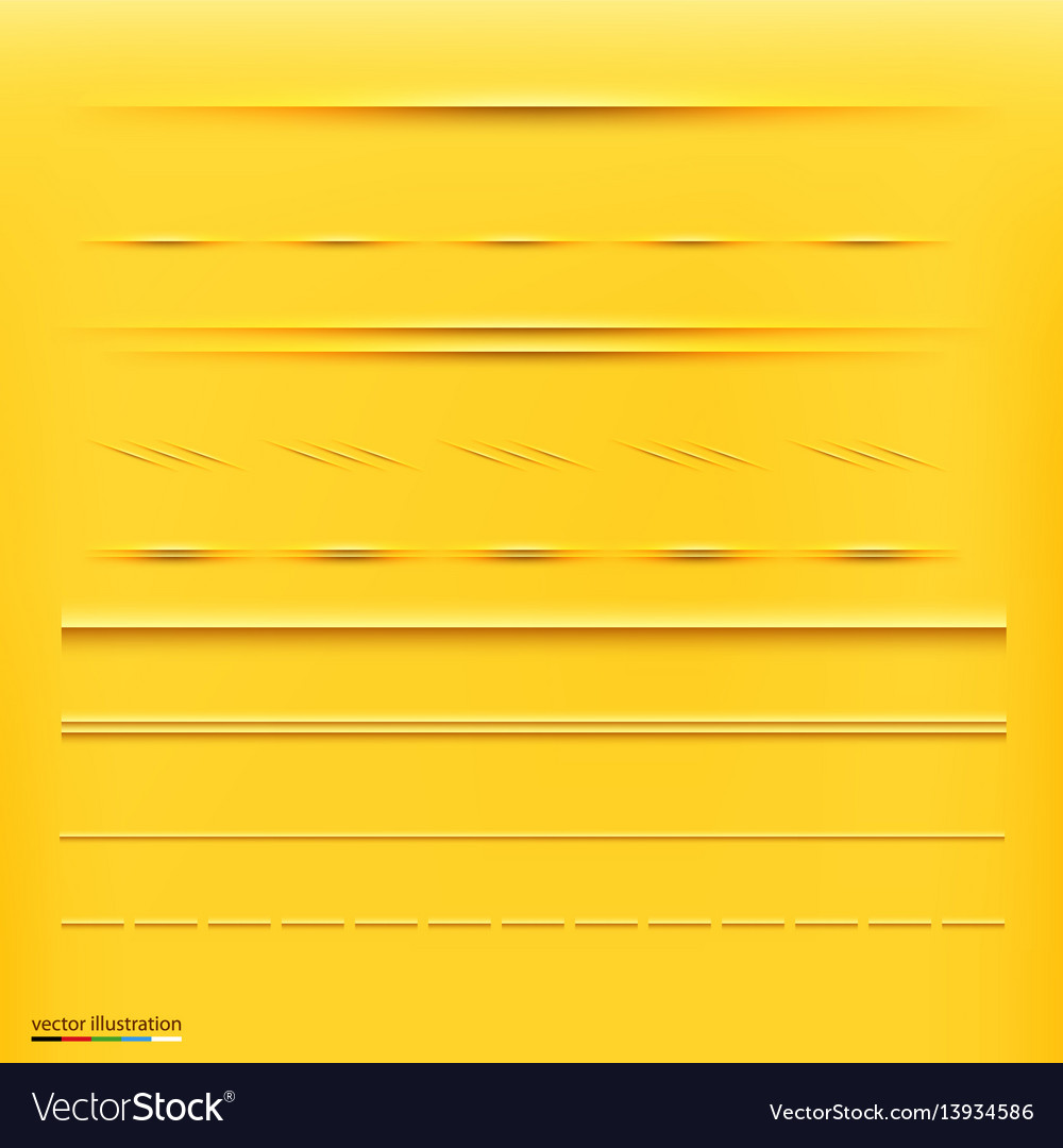 Set dividers isolated on yellow background