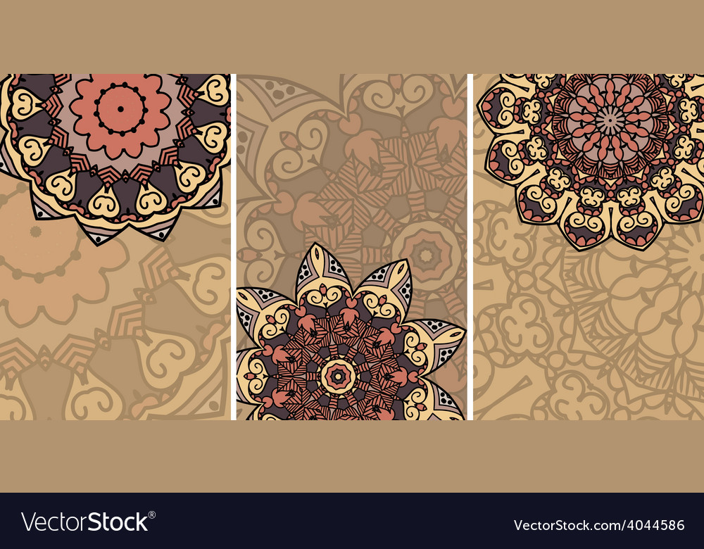 Set of cards with ethnic pattern vector image
