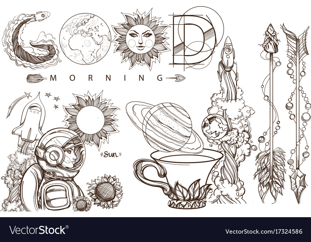 Space beautiful inscription good morning a set of
