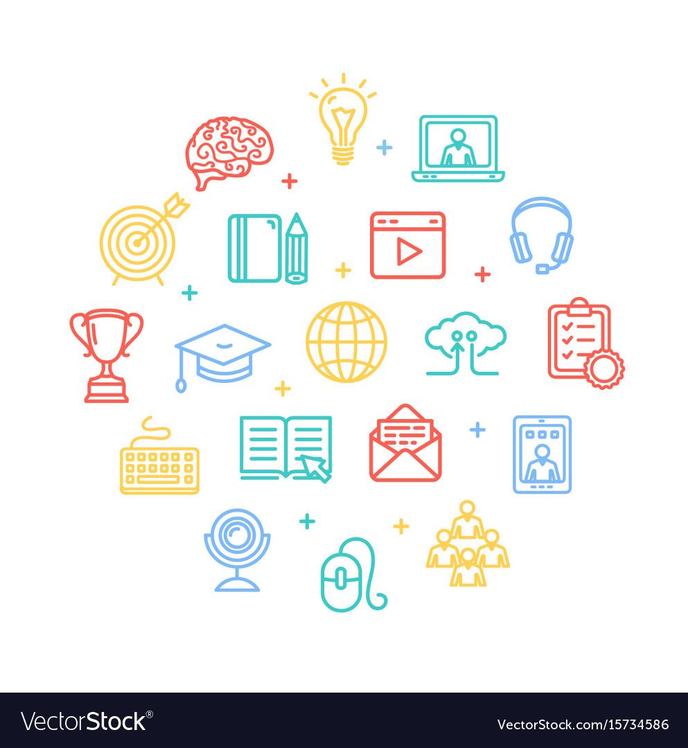 Symbol of education online color round design