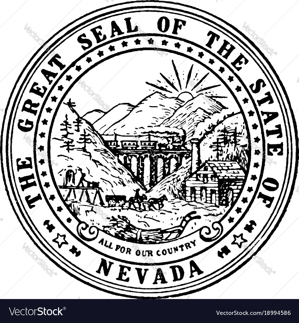 The Great Seal Of The State Of Nevada Vintage Vector Image