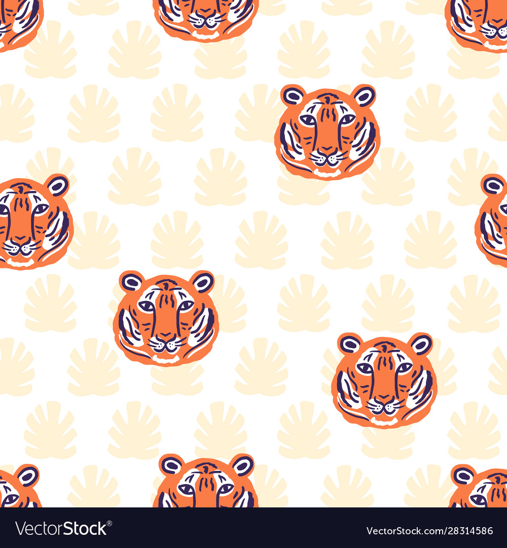 Tigers and tropical leaves jungle pattern