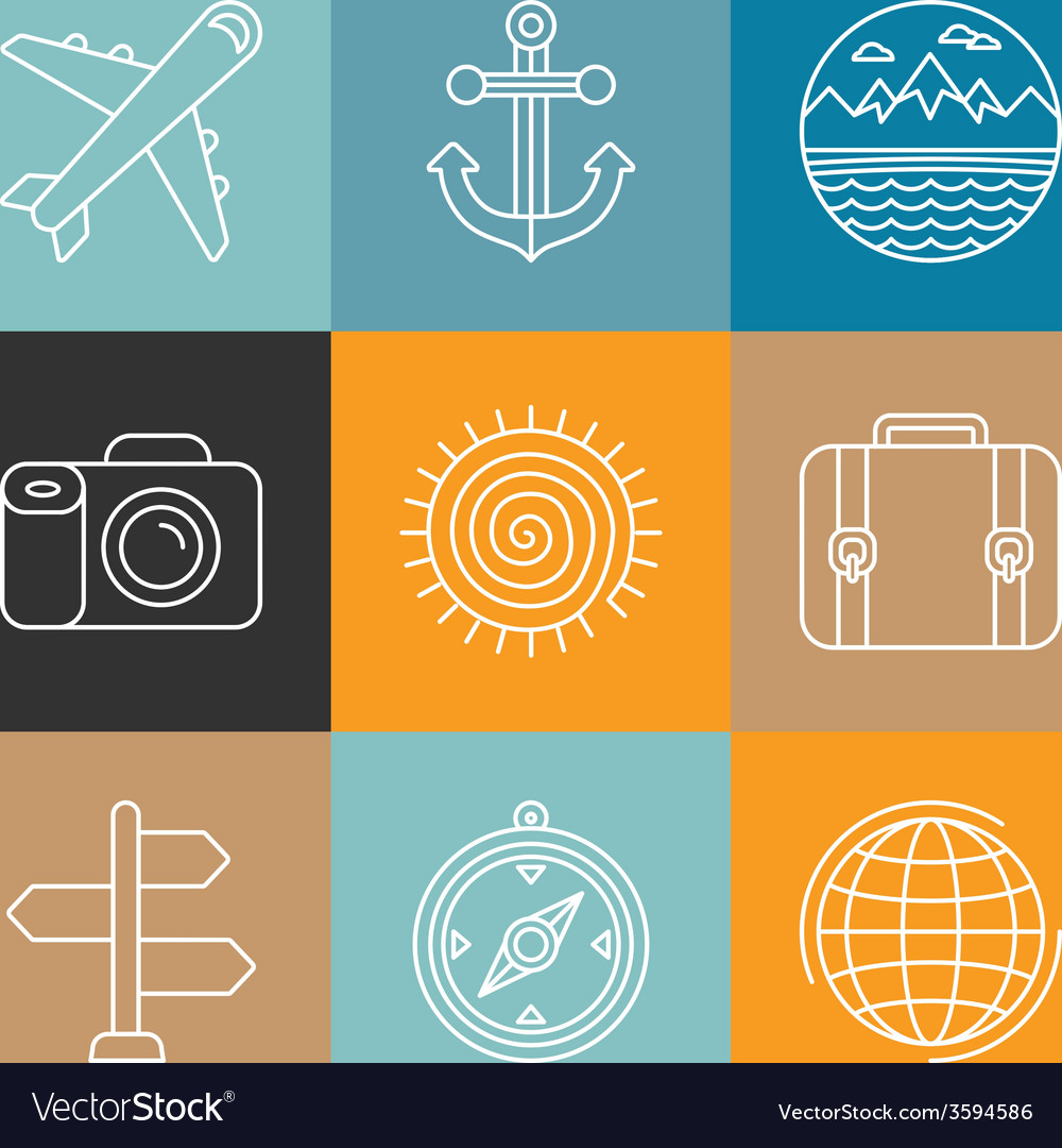 Travel logos and icons in outline style