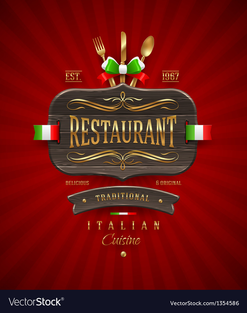 Vintage wooden sign for Italian restaurant