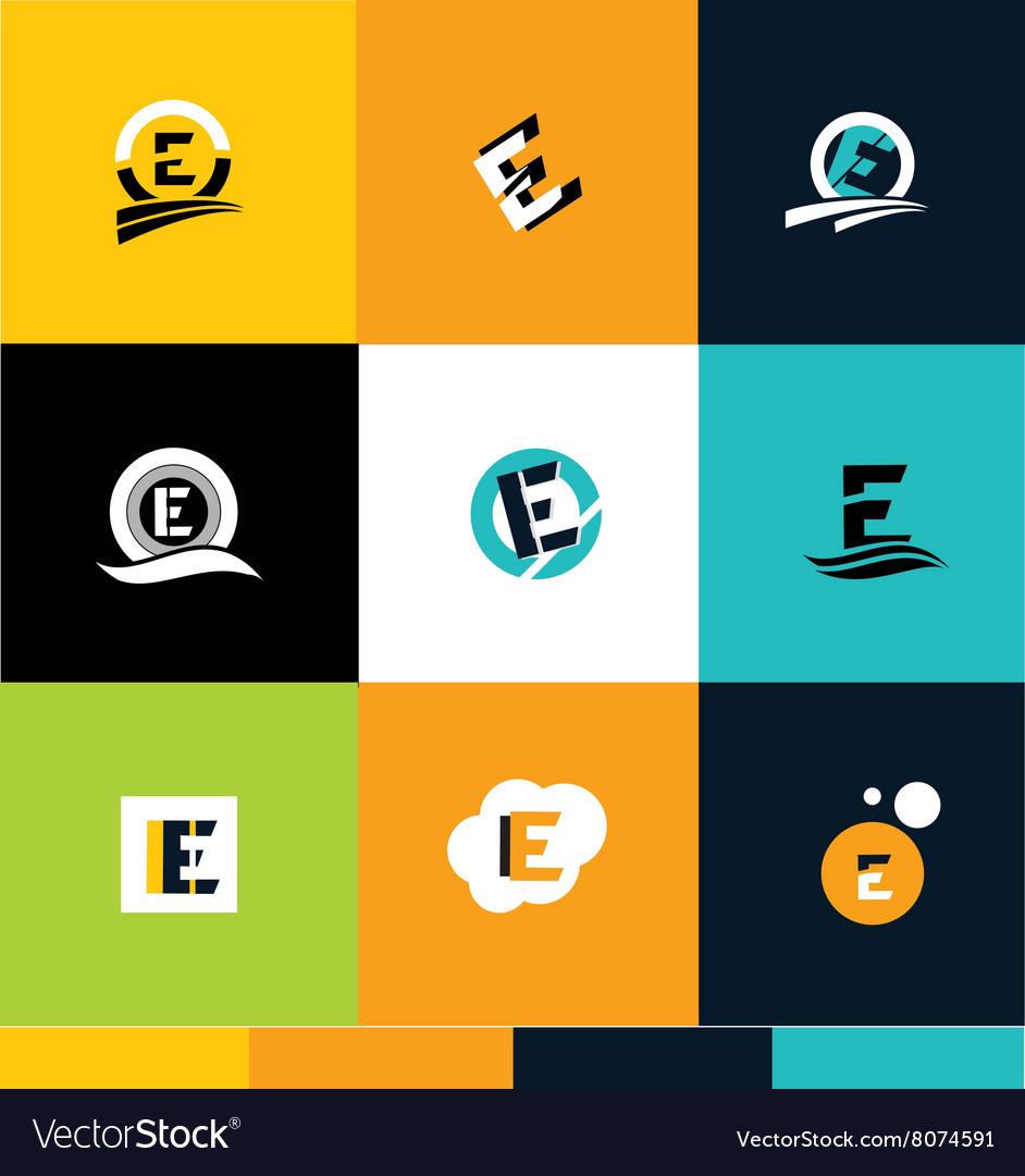 Alphabet letter e ico set logo