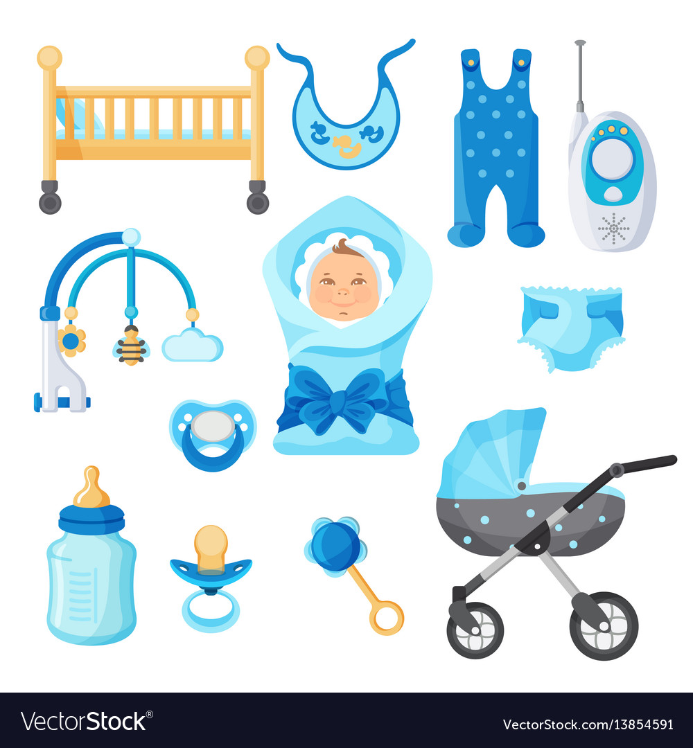 Baby boy design elements collection on