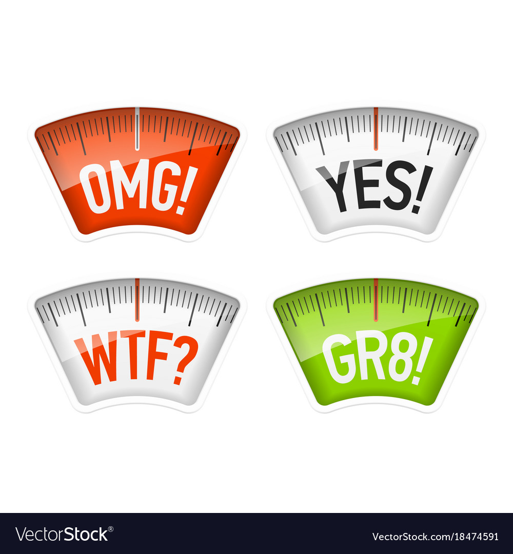 Bathroom scales displaying omg yes wtf and gr8