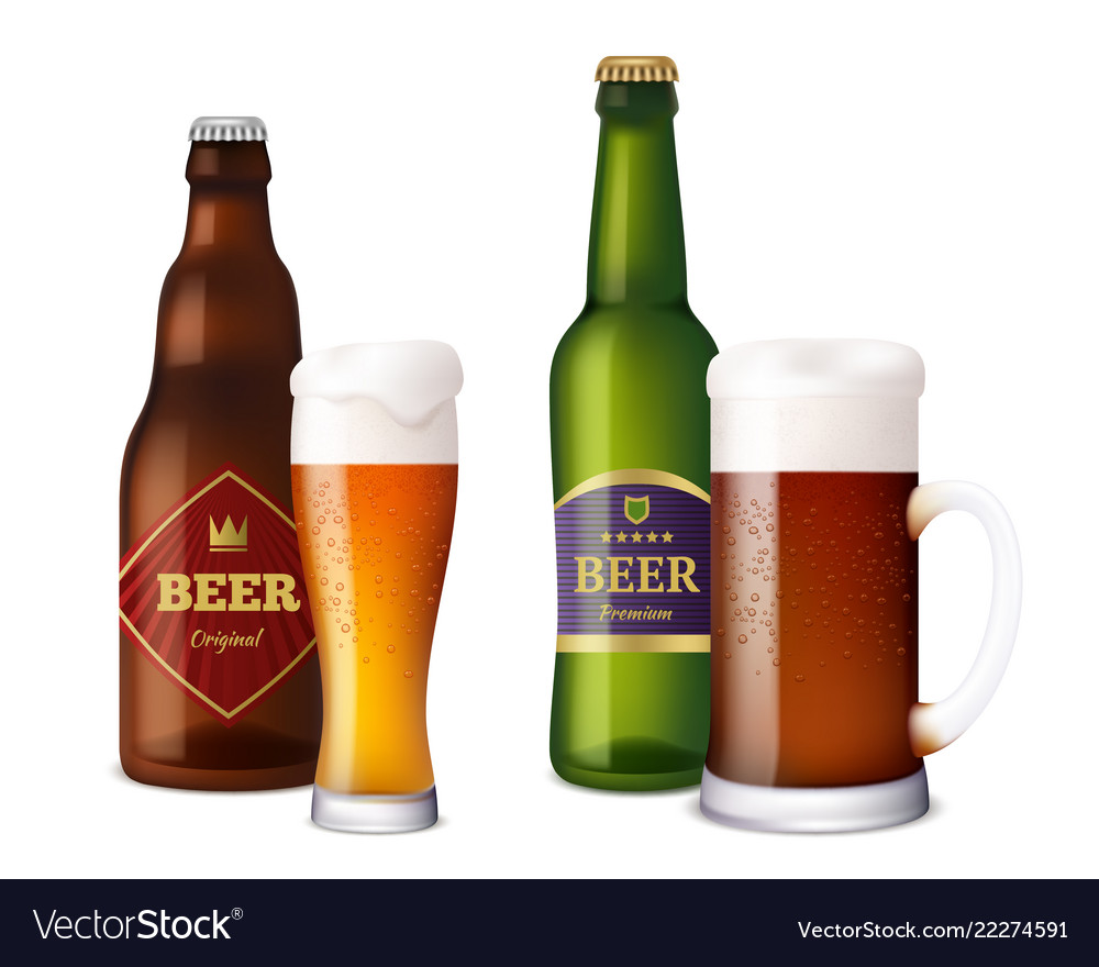 Beer glasses bottles cup and vessels