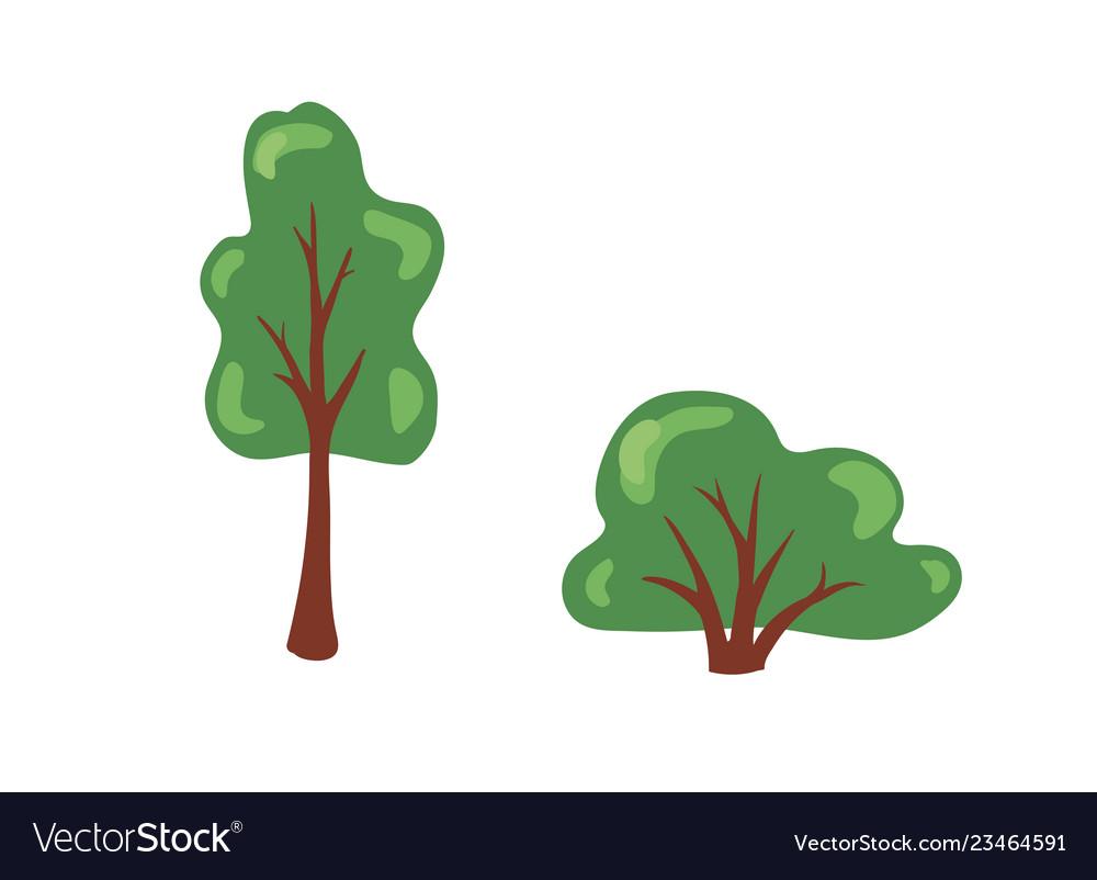 Cartoon bush and tree set trees and bushes