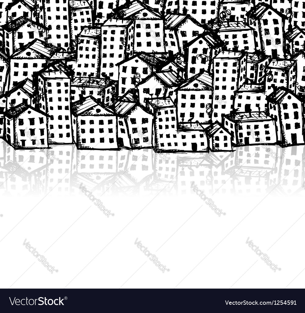City sketch seamless background for your design vector image