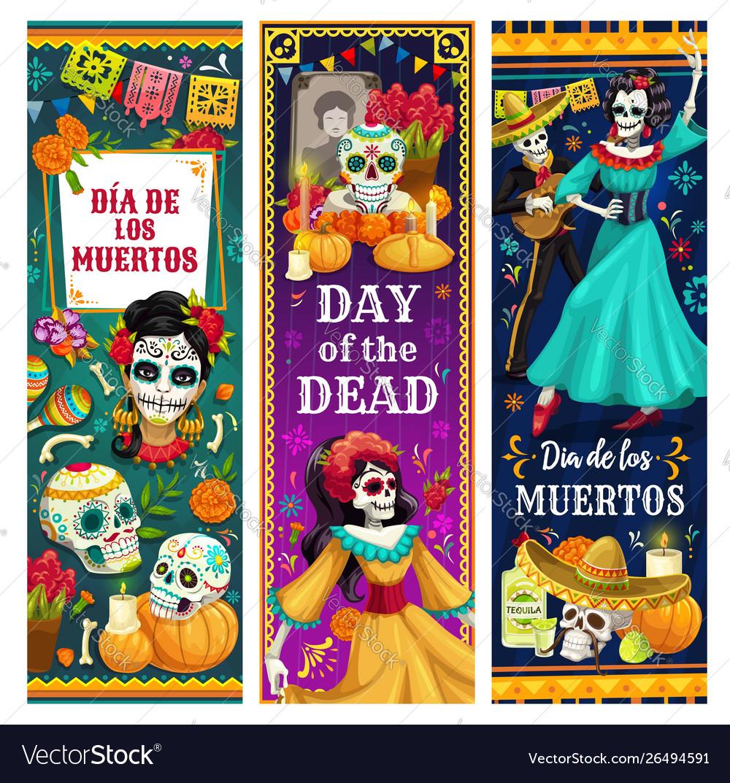 Dead day skulls skeletons altar mexican holiday
