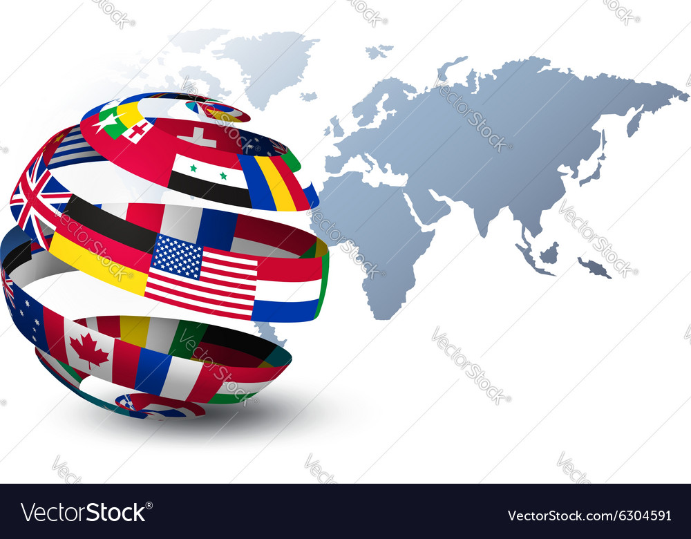Globe made out of flags on a world map background
