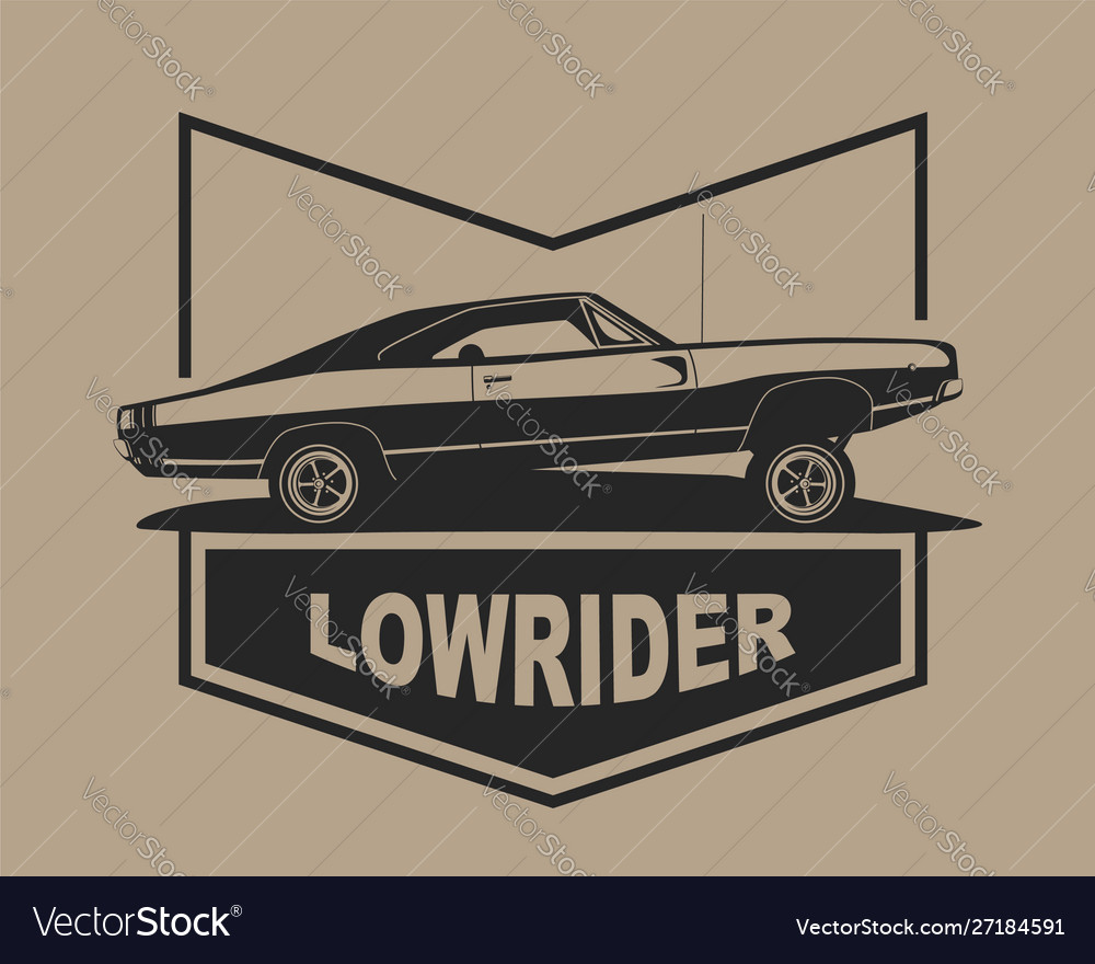 Low rider car label american muscle vintage