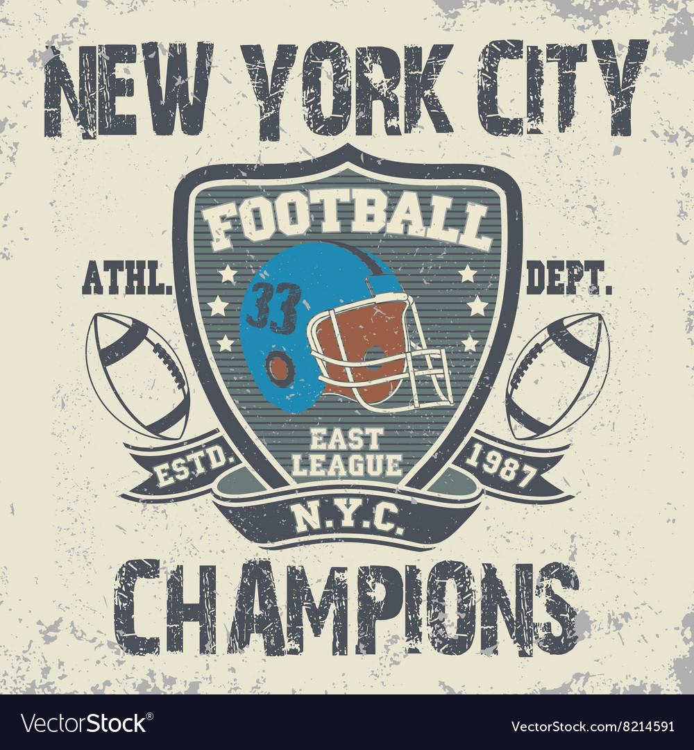 New York football vintage t-shirt graphics