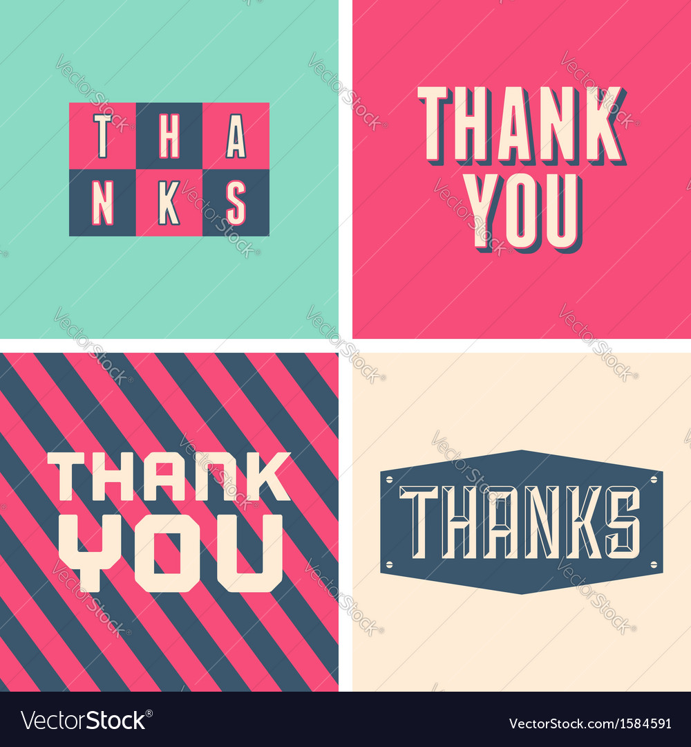 Retro design thank you greeting cards in pink