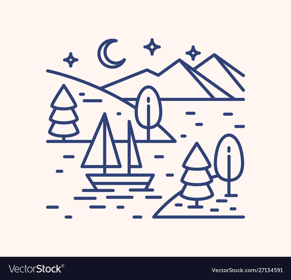 Romantic lake trip on starry night lineart