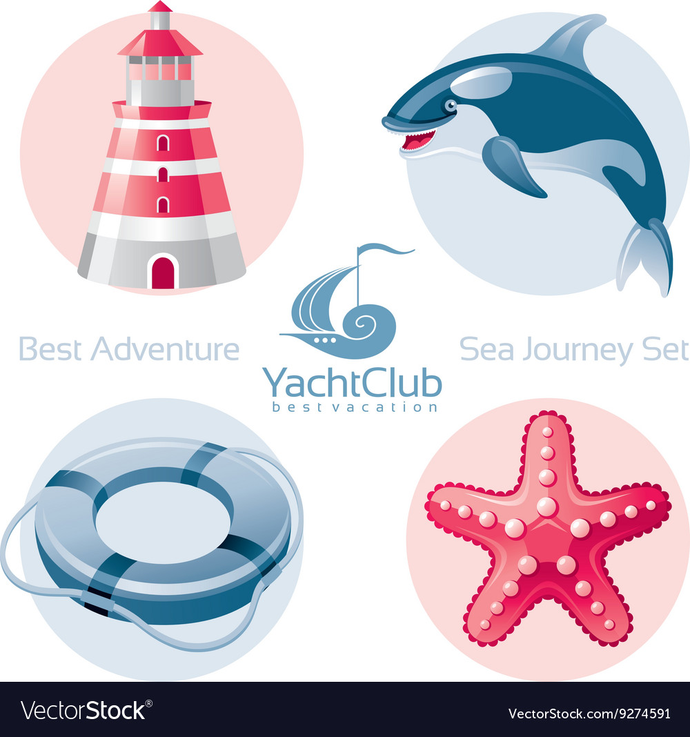 Sea travel icon set with seafaring icons