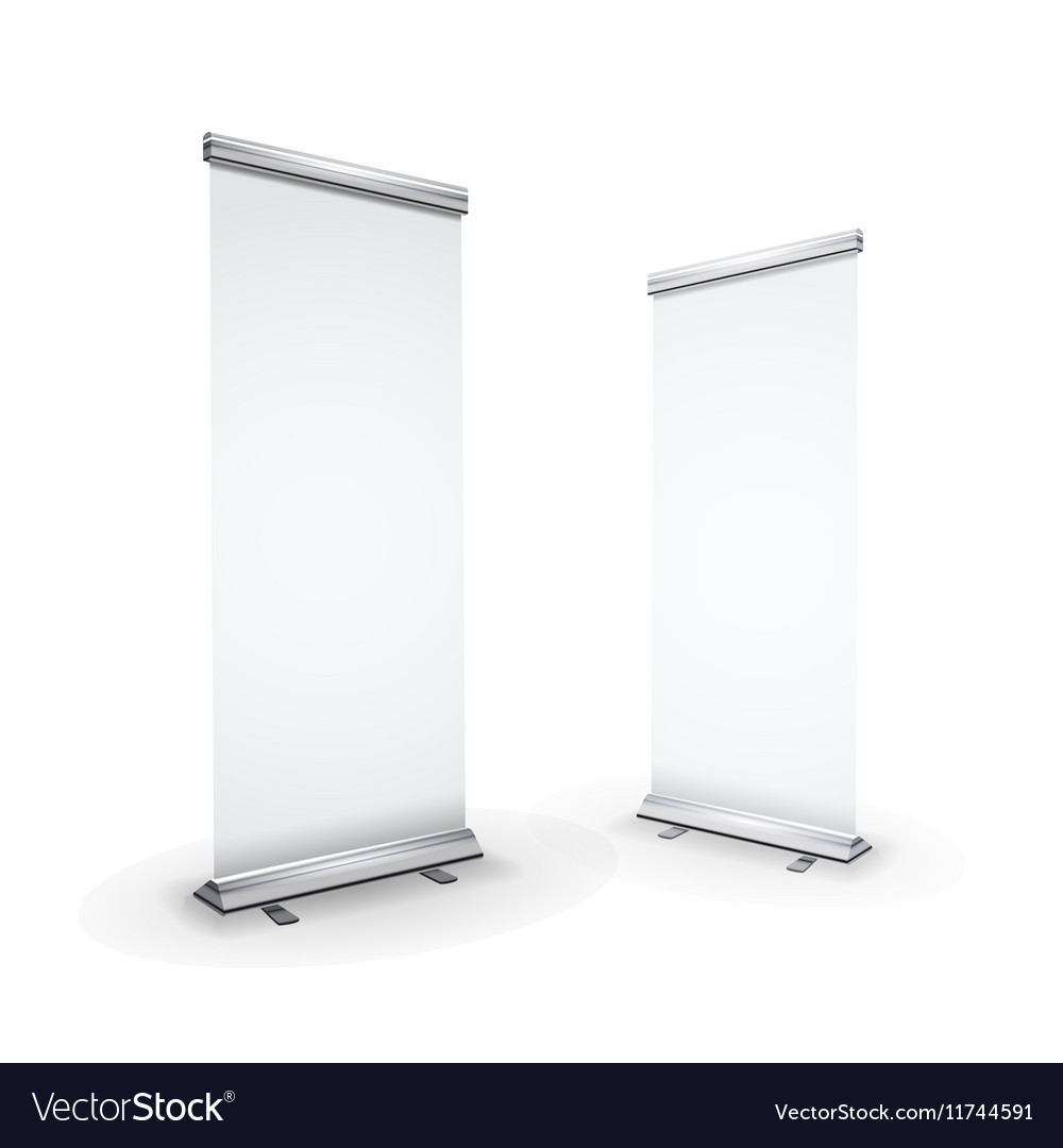 Two blank realistic roll-up banners isolated on