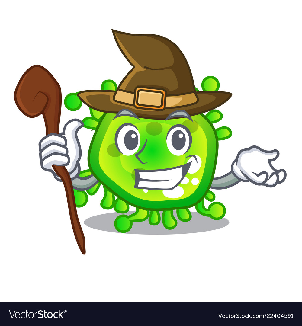 594b1730 Witch cartoon microbes on the humans hand Vector Image