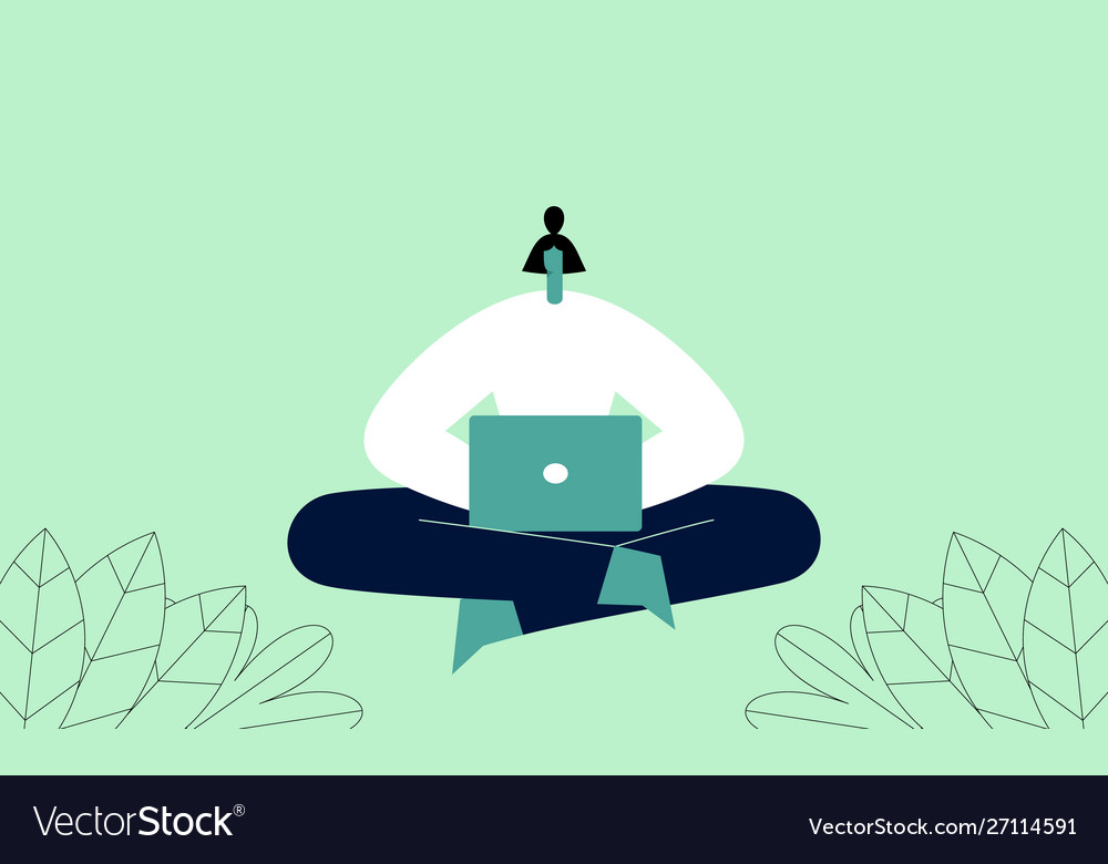 Woman with laptop sitting in yoga pose