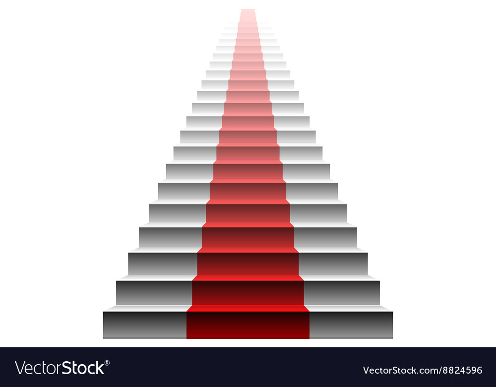 3d image of red carpet on white stair stairs red